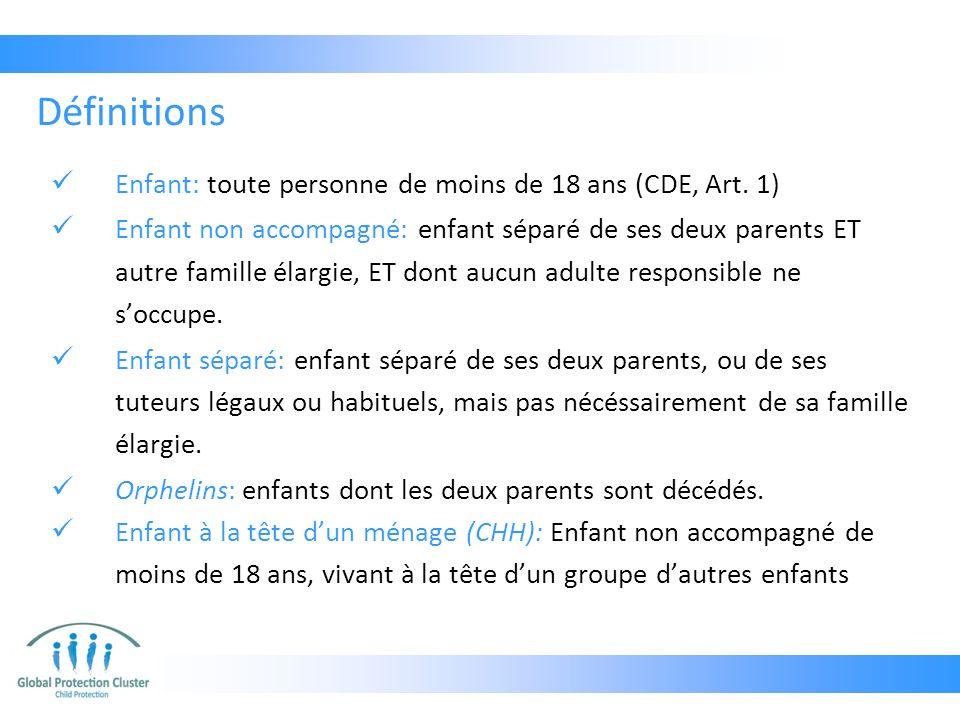 Enfant: toute personne de moins de 18 ans (CDE, Art. 1) Enfant non accompagné: enfant séparé de ses deux parents ET autre famille élargie, ET dont auc