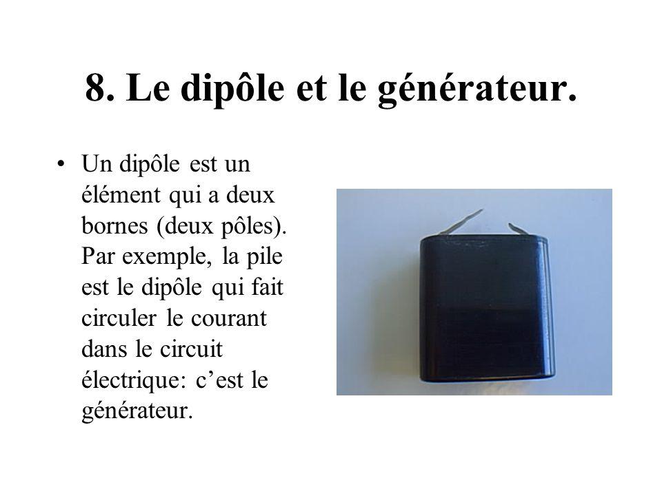8. Le dipôle et le générateur. Un dipôle est un élément qui a deux bornes (deux pôles). Par exemple, la pile est le dipôle qui fait circuler le couran