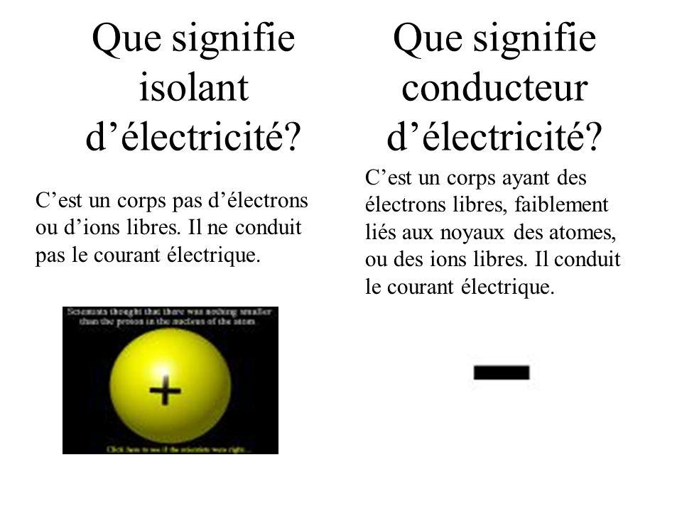 Que signifie isolant délectricité? Cest un corps pas délectrons ou dions libres. Il ne conduit pas le courant électrique. Que signifie conducteur déle