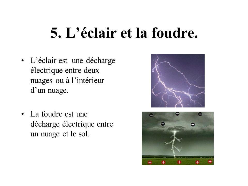5. Léclair et la foudre. Léclair est une décharge électrique entre deux nuages ou à lintérieur dun nuage. La foudre est une décharge électrique entre