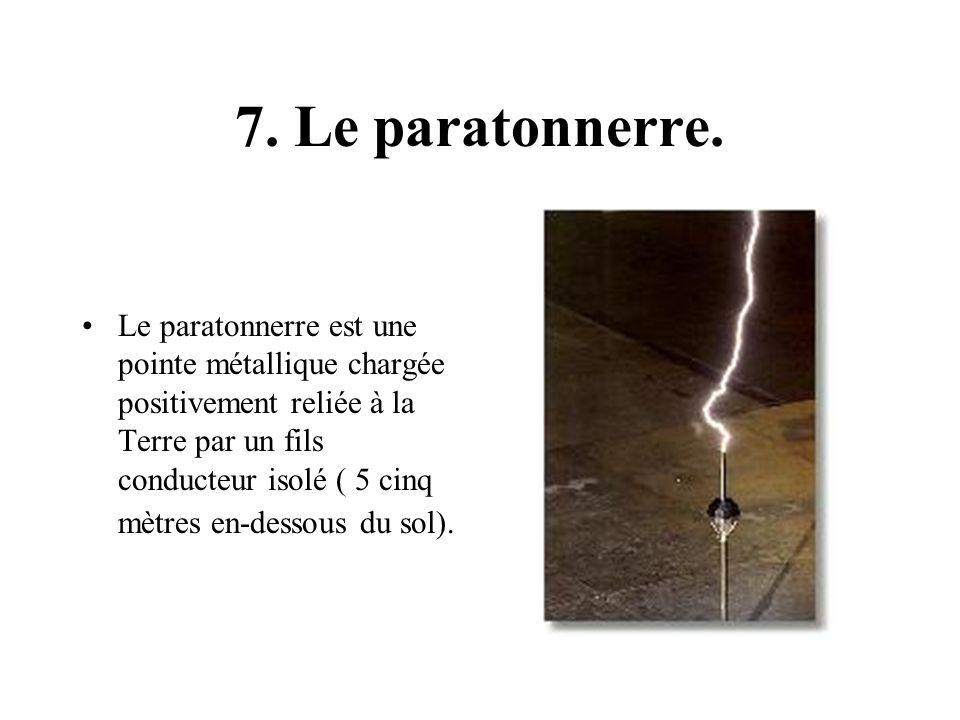 7. Le paratonnerre. Le paratonnerre est une pointe métallique chargée positivement reliée à la Terre par un fils conducteur isolé ( 5 cinq mètres en-d