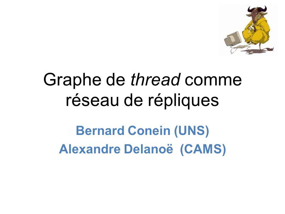 Graphe de thread comme réseau de répliques Bernard Conein (UNS) Alexandre Delanoë (CAMS)