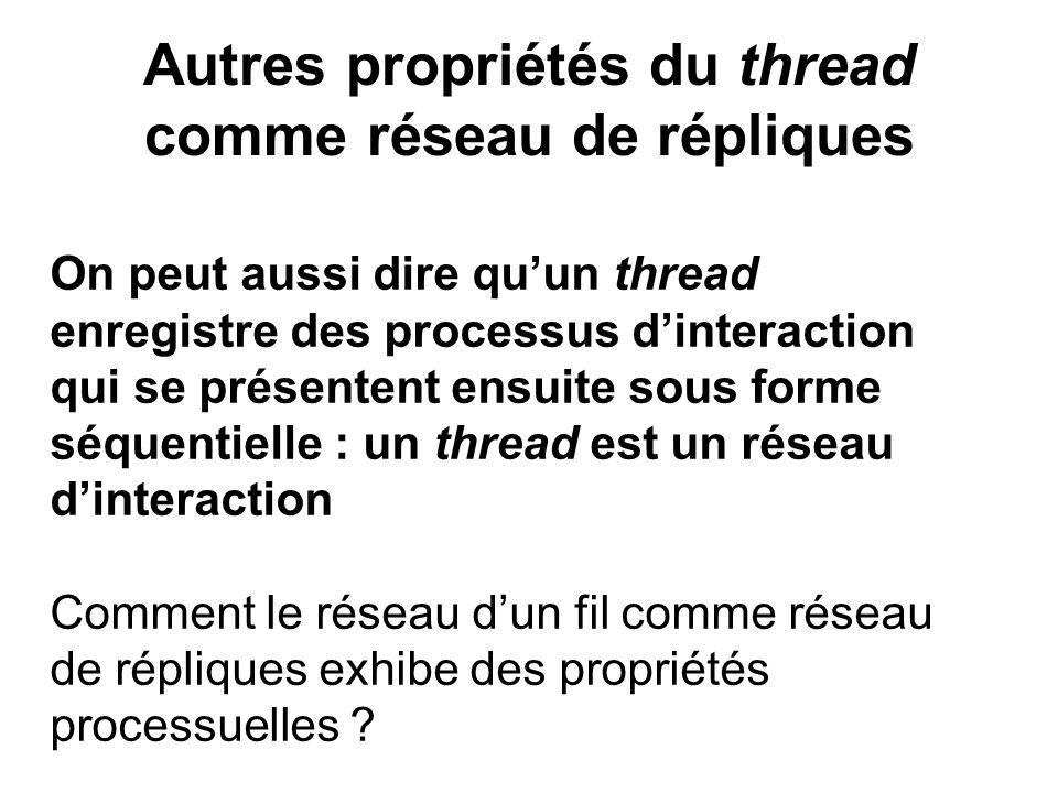 Autres propriétés du thread comme réseau de répliques On peut aussi dire quun thread enregistre des processus dinteraction qui se présentent ensuite s