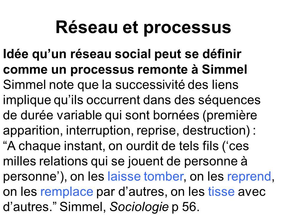 Réseau et processus Idée quun réseau social peut se définir comme un processus remonte à Simmel Simmel note que la successivité des liens implique qui