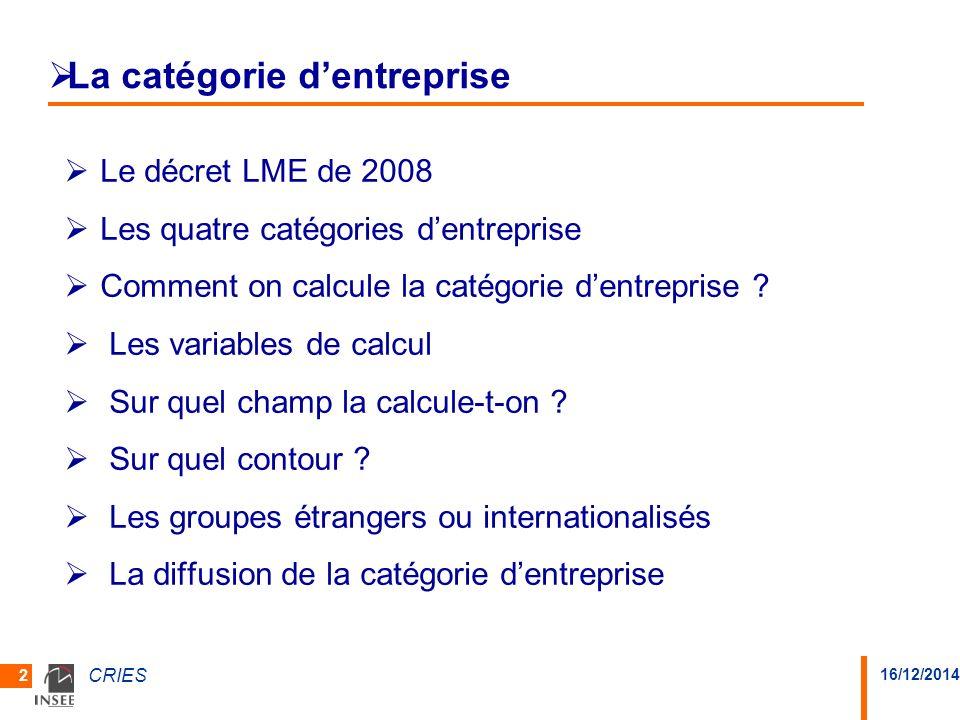16/12/2014 CRIES 2 La catégorie dentreprise Le décret LME de 2008 Les quatre catégories dentreprise Comment on calcule la catégorie dentreprise ? Les