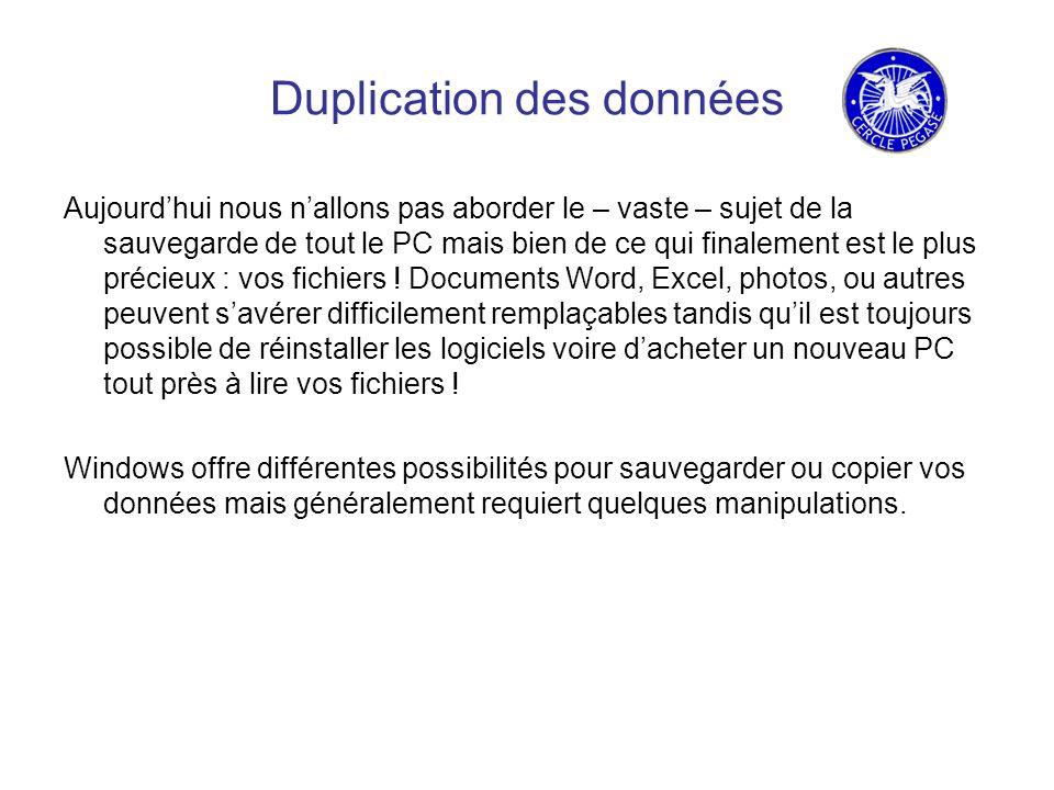 Duplication des données Aujourdhui nous nallons pas aborder le – vaste – sujet de la sauvegarde de tout le PC mais bien de ce qui finalement est le plus précieux : vos fichiers .