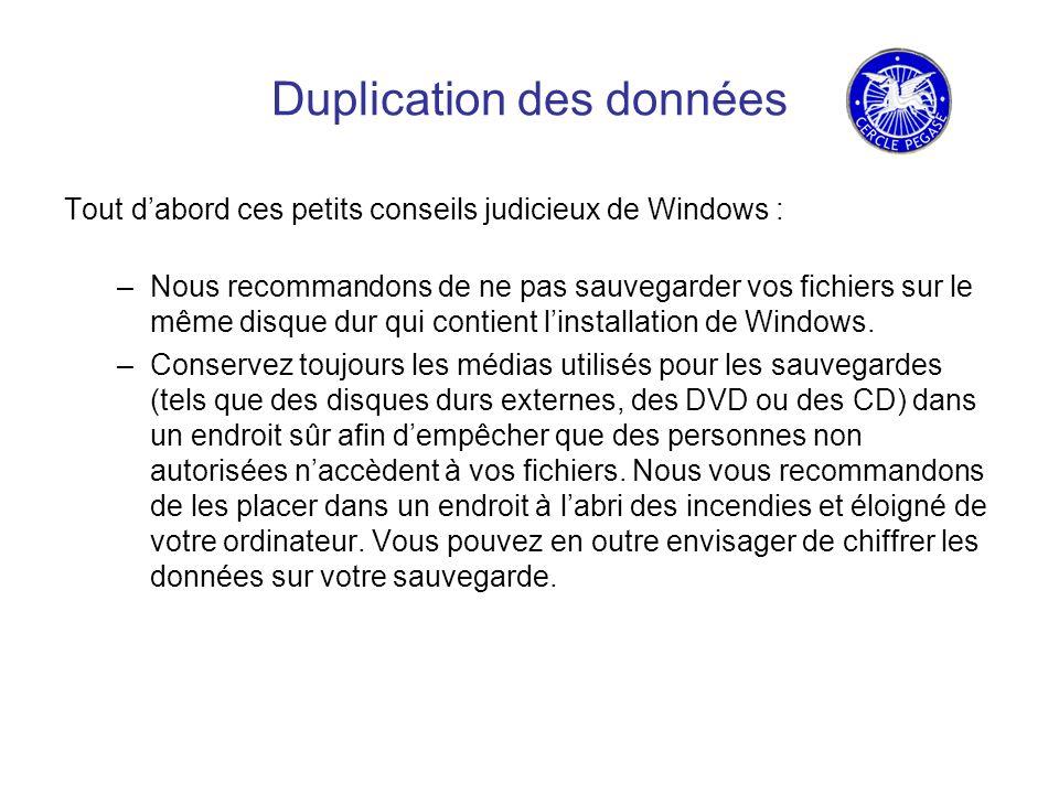 Duplication des données Tout dabord ces petits conseils judicieux de Windows : –Nous recommandons de ne pas sauvegarder vos fichiers sur le même disque dur qui contient linstallation de Windows.