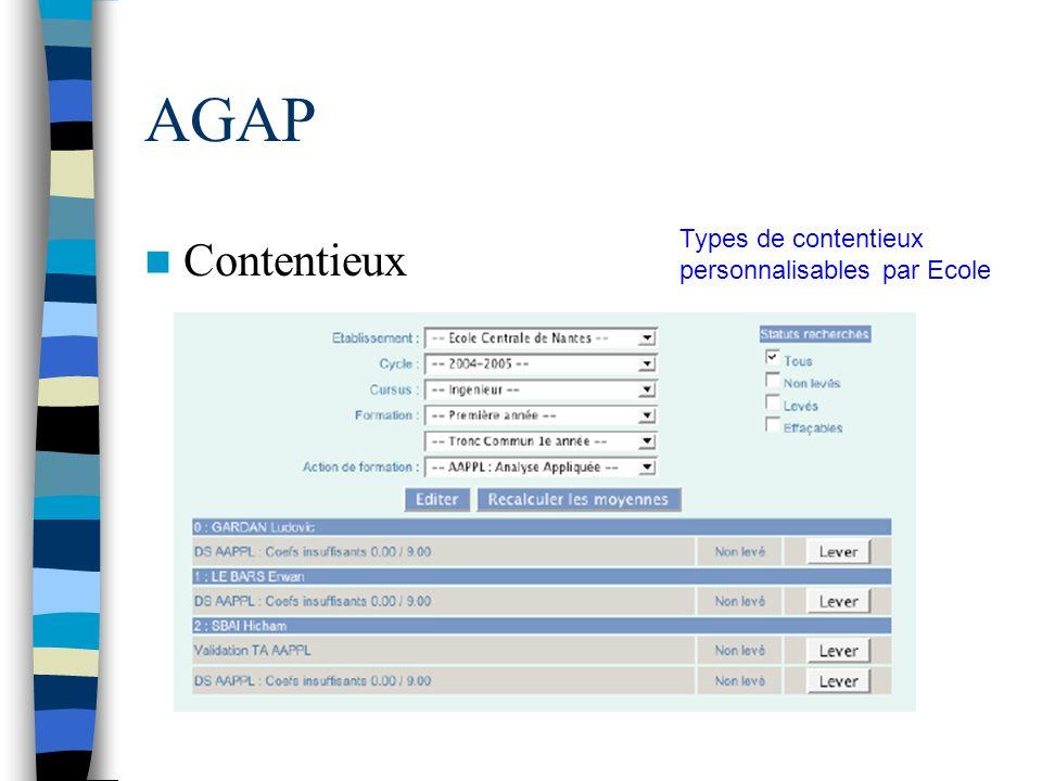 AGAP Contentieux Types de contentieux personnalisables par Ecole