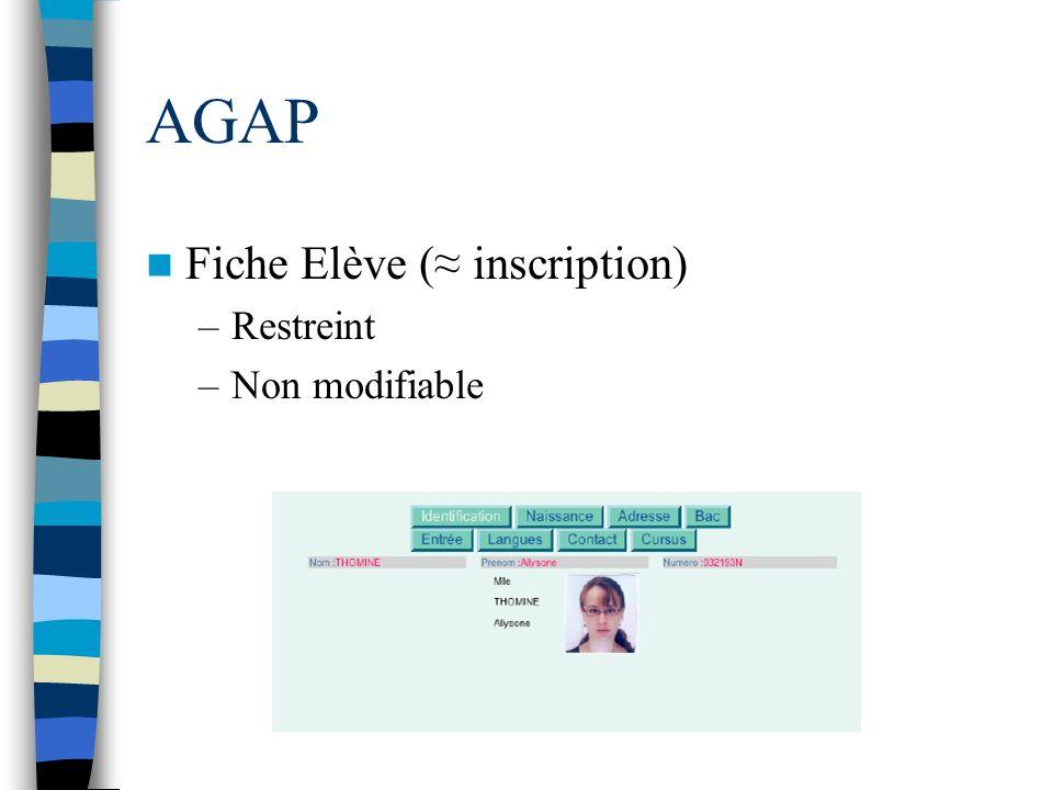 AGAP Fiche Elève ( inscription) –Restreint –Non modifiable