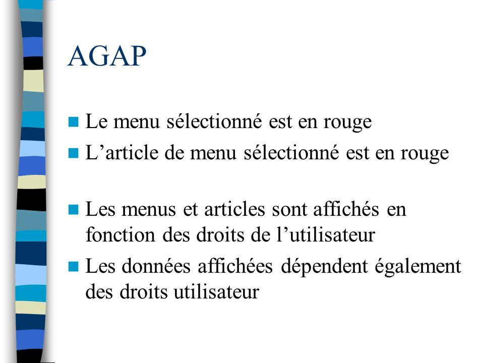 AGAP Le menu sélectionné est en rouge Larticle de menu sélectionné est en rouge Les menus et articles sont affichés en fonction des droits de lutilisa