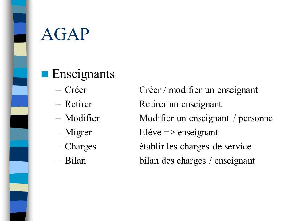 AGAP Enseignants –CréerCréer / modifier un enseignant –RetirerRetirer un enseignant –ModifierModifier un enseignant / personne –MigrerElève => enseign