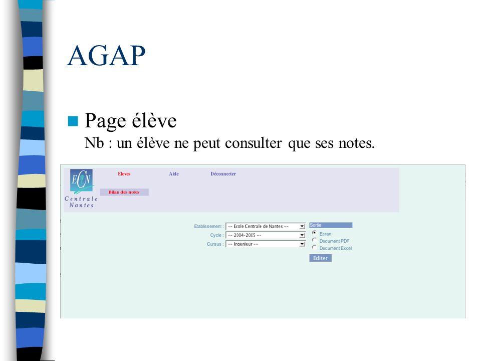 Page élève Nb : un élève ne peut consulter que ses notes.