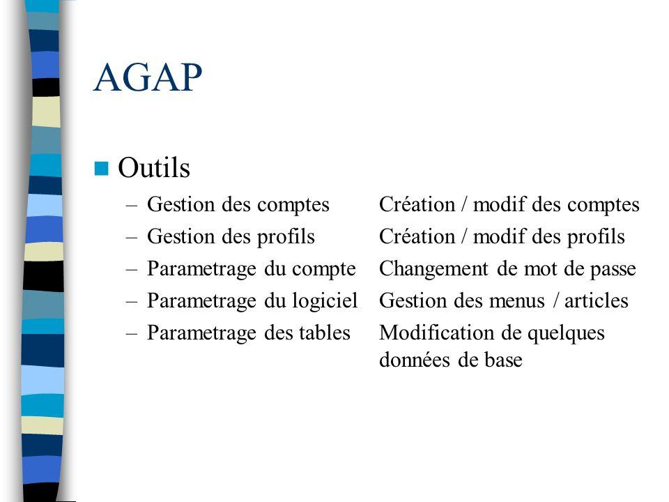 AGAP Outils –Gestion des comptesCréation / modif des comptes –Gestion des profilsCréation / modif des profils –Parametrage du compteChangement de mot