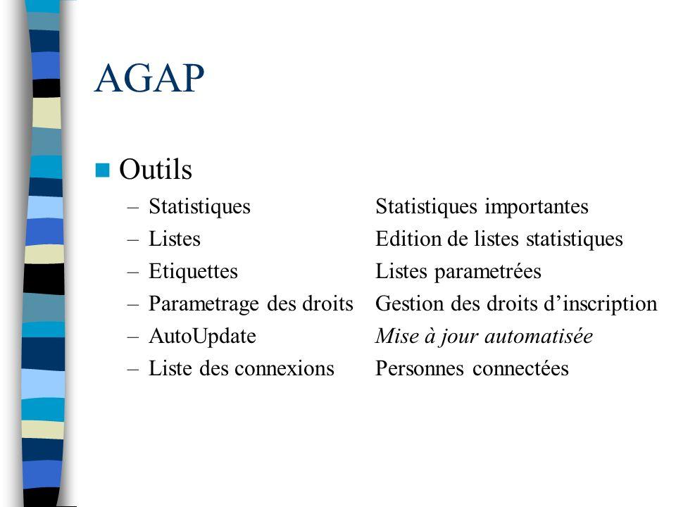 AGAP Outils –StatistiquesStatistiques importantes –ListesEdition de listes statistiques –EtiquettesListes parametrées –Parametrage des droitsGestion d