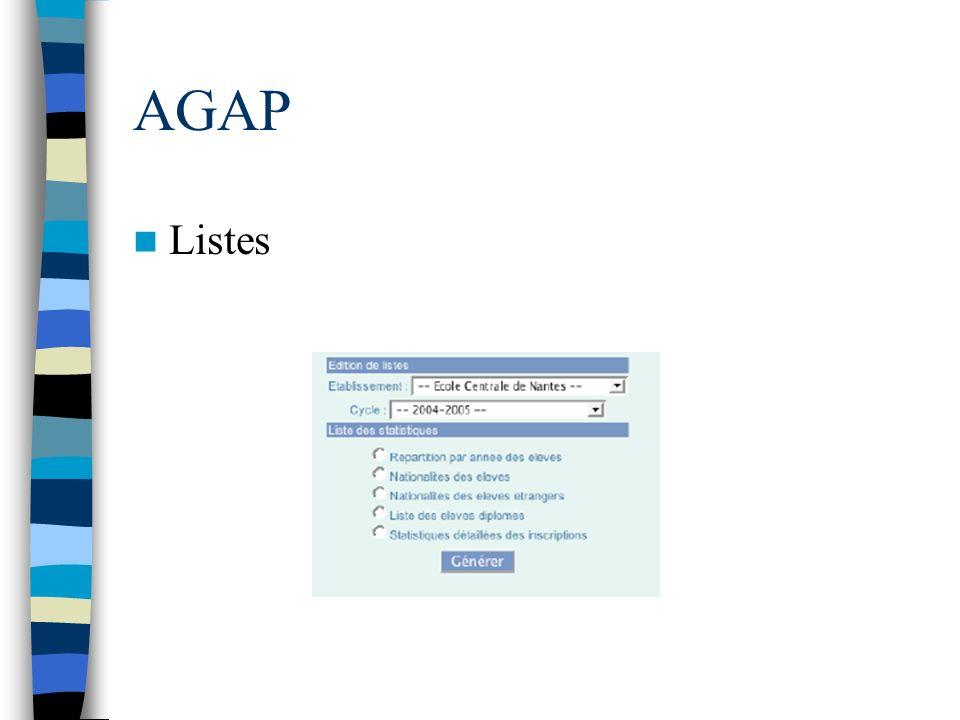 AGAP Listes