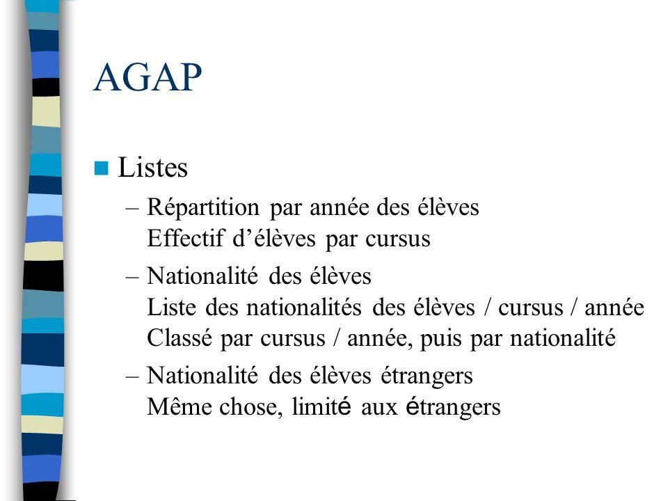 AGAP Listes –Répartition par année des élèves Effectif délèves par cursus –Nationalité des élèves Liste des nationalités des élèves / cursus / année C