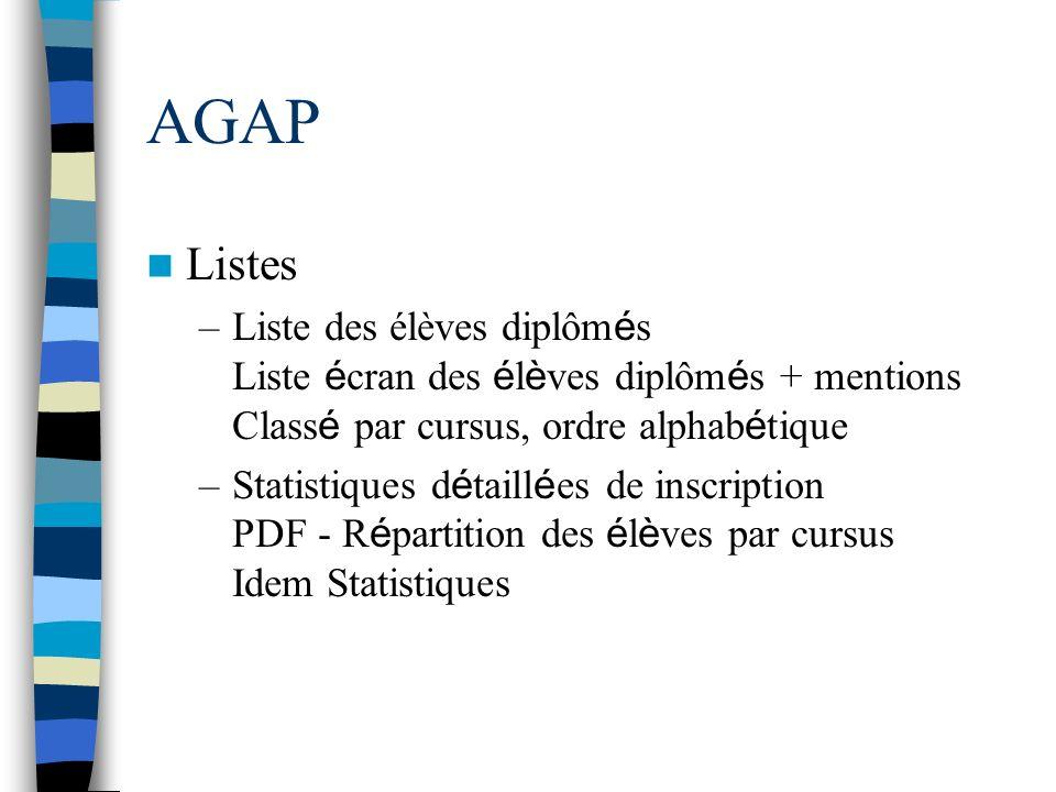 AGAP Listes –Liste des élèves diplôm é s Liste é cran des é l è ves diplôm é s + mentions Class é par cursus, ordre alphab é tique –Statistiques d é t