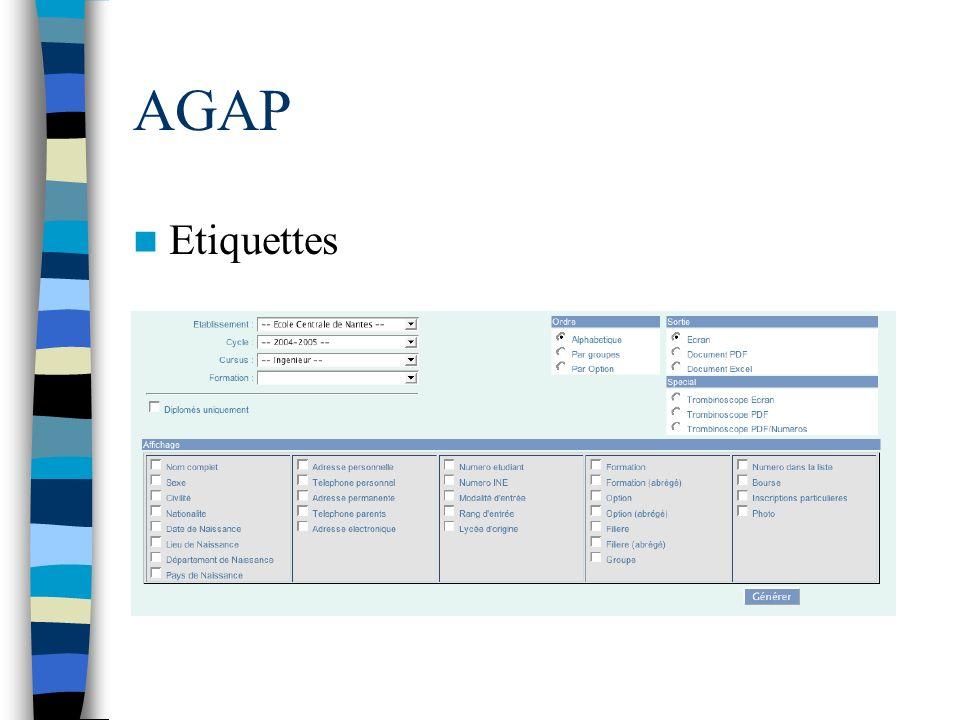 AGAP Etiquettes