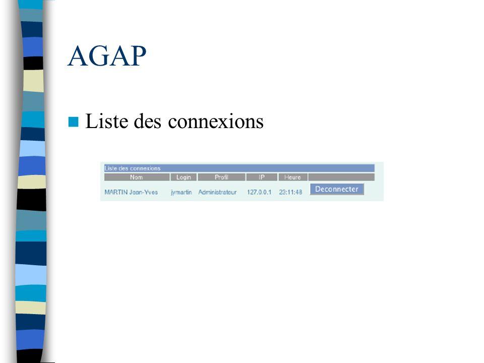 AGAP Liste des connexions