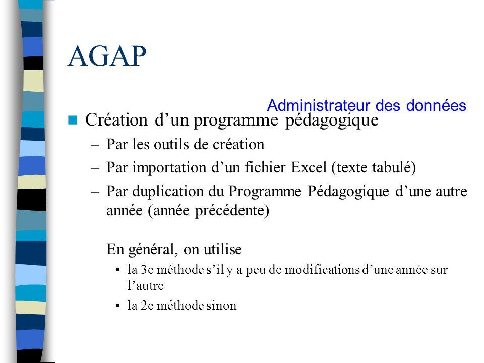 AGAP Création dun programme pédagogique –Par les outils de création –Par importation dun fichier Excel (texte tabulé) –Par duplication du Programme Pé