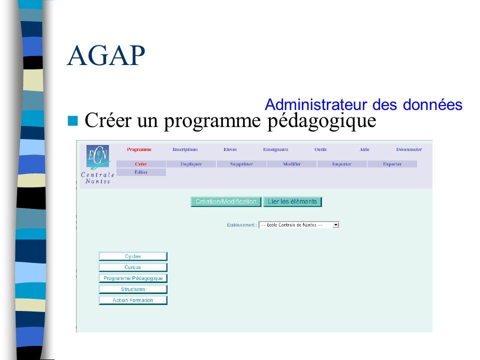 AGAP Créer un programme pédagogique Administrateur des données