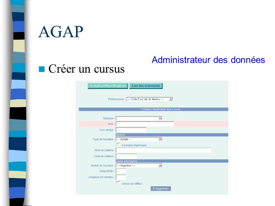 AGAP Créer un cursus Administrateur des données