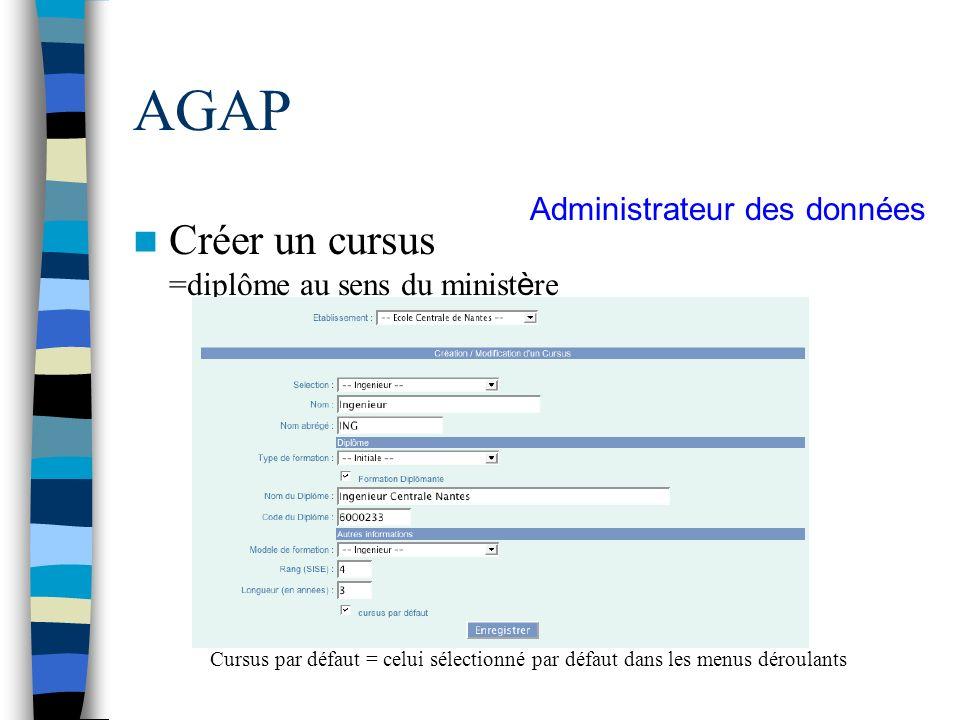AGAP Créer un cursus =diplôme au sens du minist è re Cursus par défaut = celui sélectionné par défaut dans les menus déroulants Administrateur des don