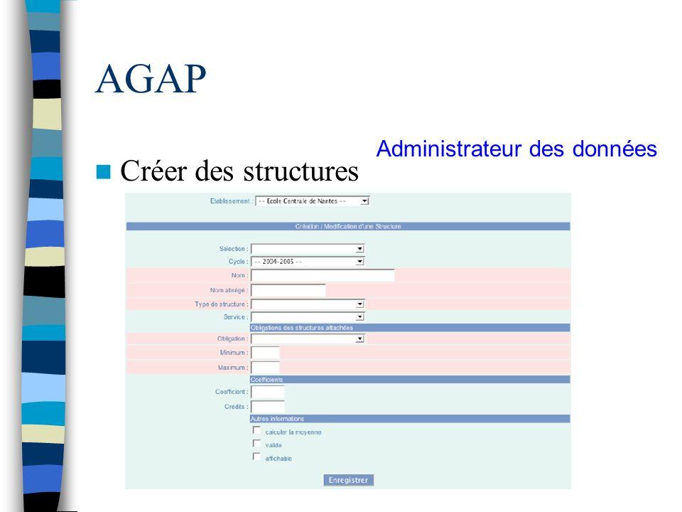 AGAP Créer des structures Administrateur des données
