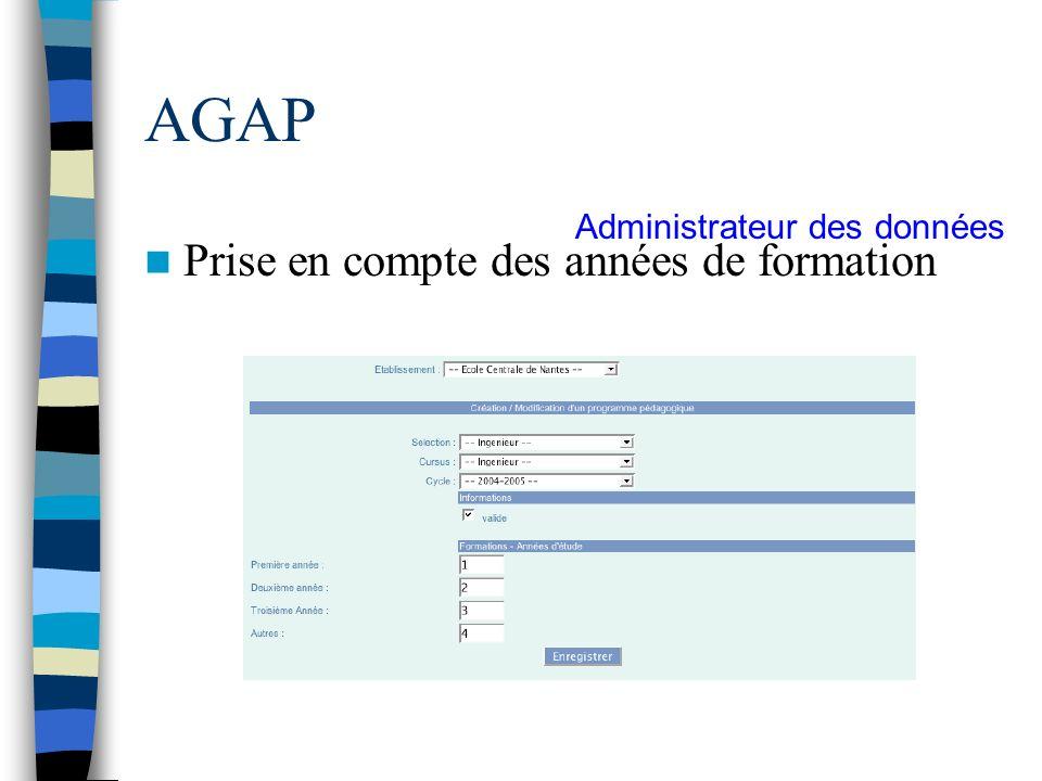 AGAP Prise en compte des années de formation Administrateur des données