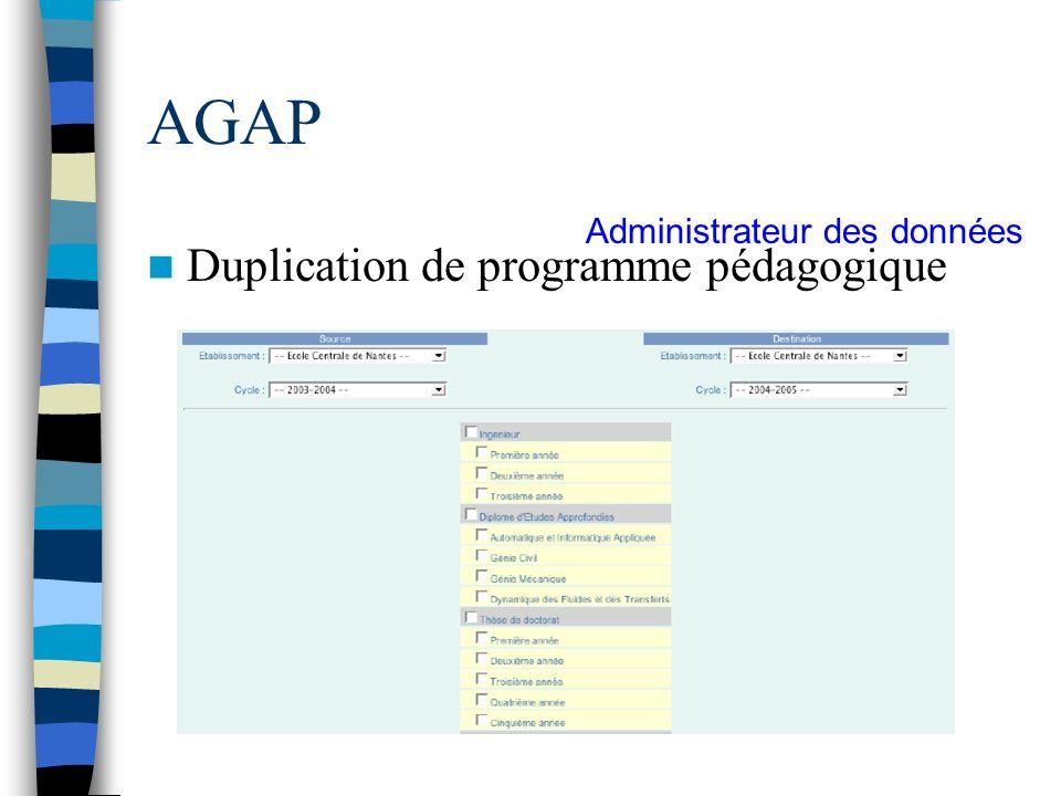 AGAP Duplication de programme pédagogique Administrateur des données