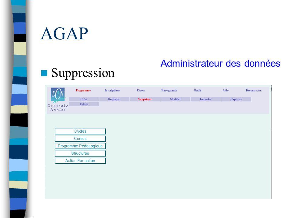 AGAP Suppression Administrateur des données