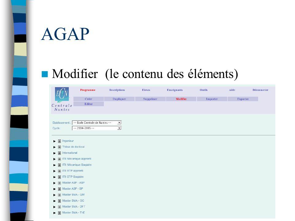 AGAP Modifier (le contenu des éléments)