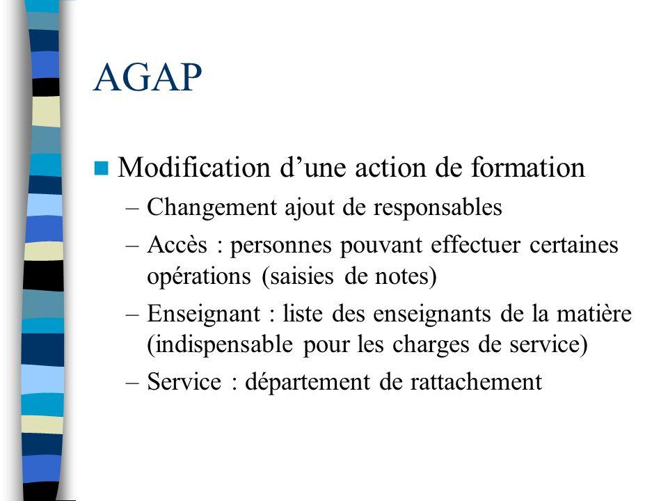 AGAP Modification dune action de formation –Changement ajout de responsables –Accès : personnes pouvant effectuer certaines opérations (saisies de not