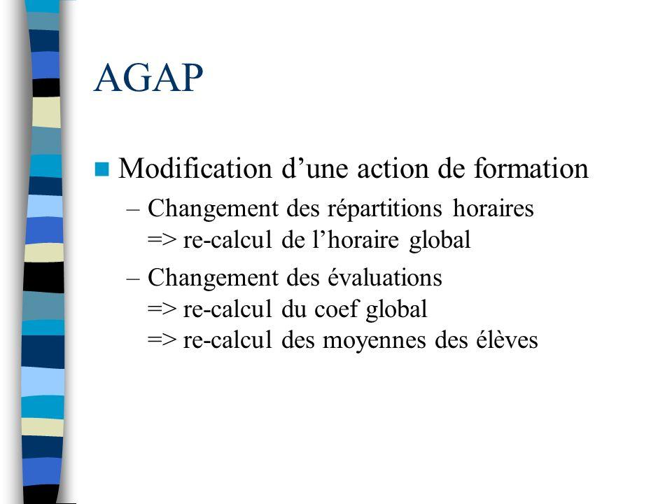 AGAP Modification dune action de formation –Changement des répartitions horaires => re-calcul de lhoraire global –Changement des évaluations => re-cal