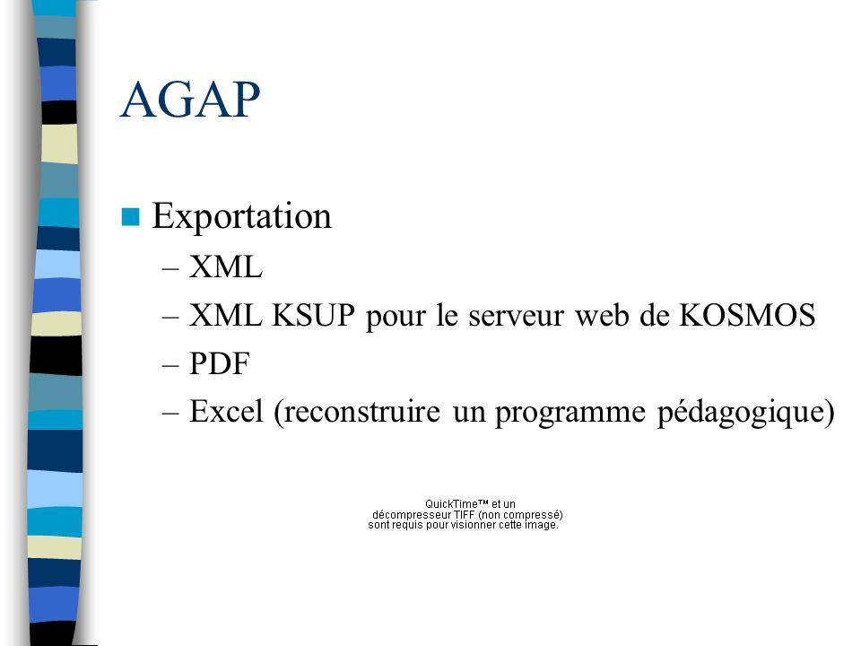 AGAP Exportation –XML –XML KSUP pour le serveur web de KOSMOS –PDF –Excel (reconstruire un programme pédagogique)