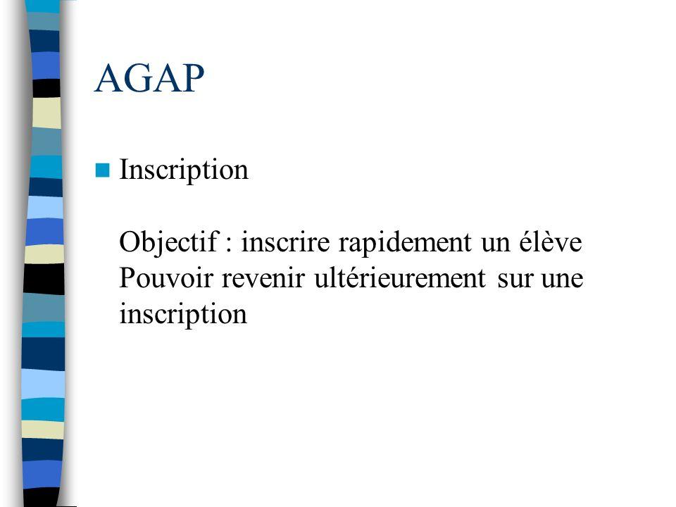 AGAP Inscription Objectif : inscrire rapidement un élève Pouvoir revenir ultérieurement sur une inscription