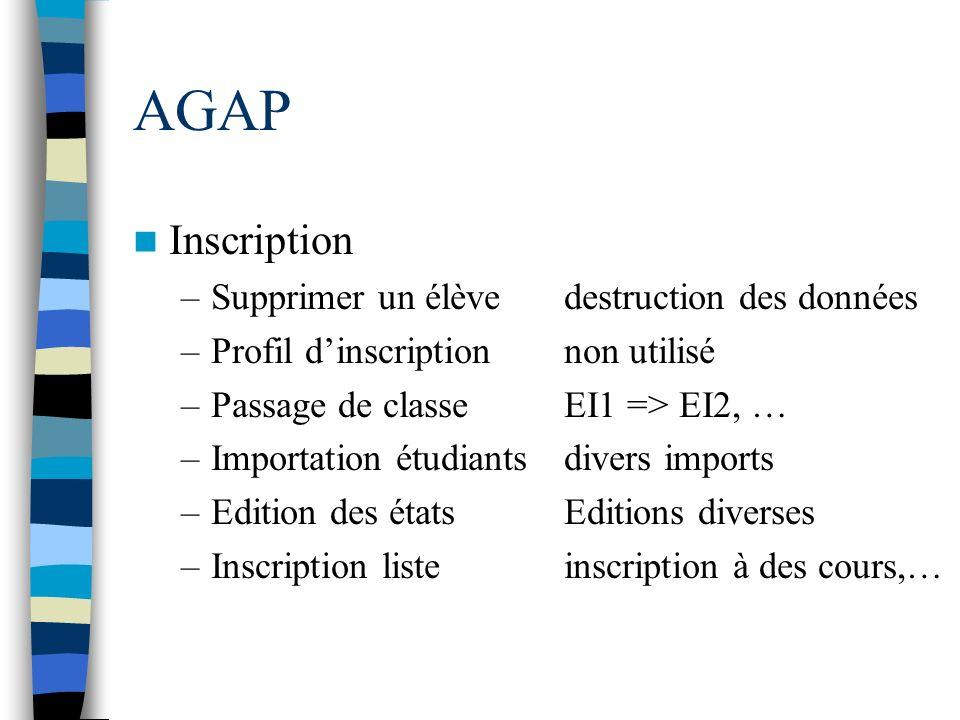 AGAP Inscription –Supprimer un élèvedestruction des données –Profil dinscriptionnon utilisé –Passage de classeEI1 => EI2, … –Importation étudiantsdive