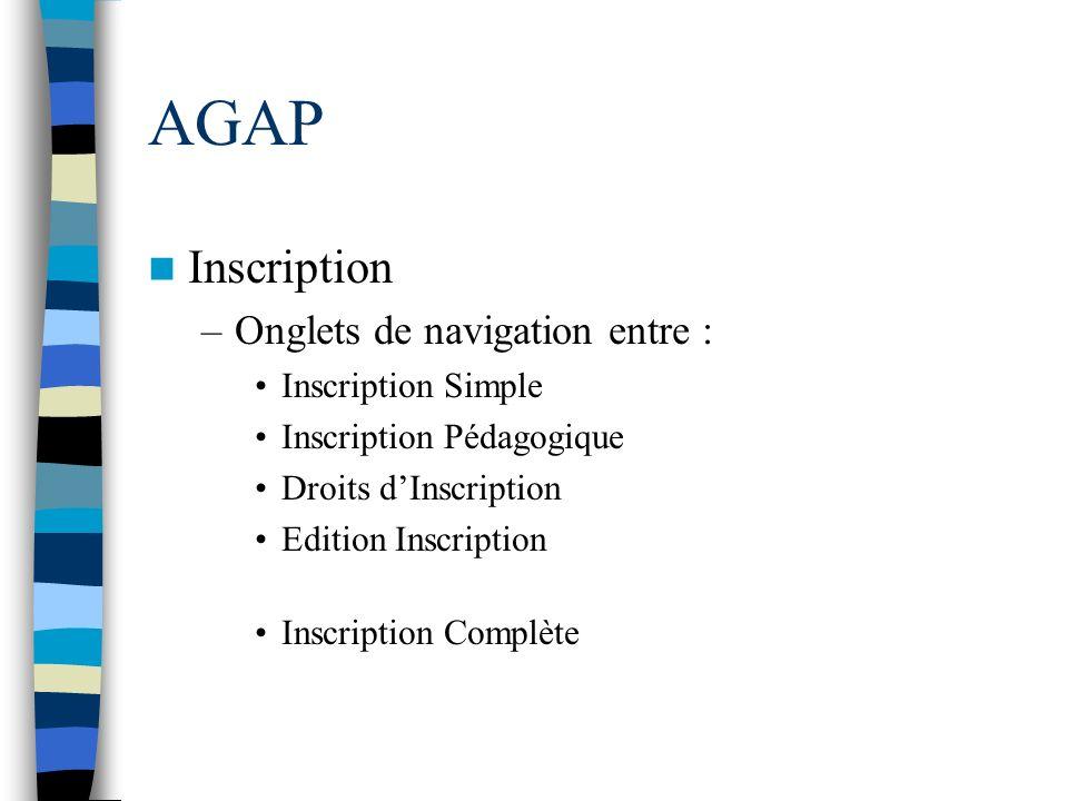 AGAP Inscription –Onglets de navigation entre : Inscription Simple Inscription Pédagogique Droits dInscription Edition Inscription Inscription Complèt