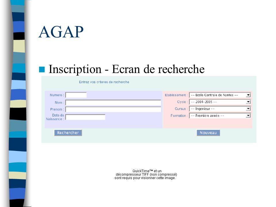 AGAP Inscription - Ecran de recherche