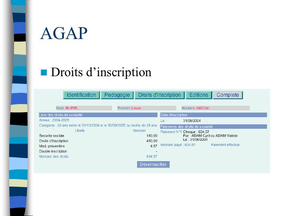 AGAP Droits dinscription