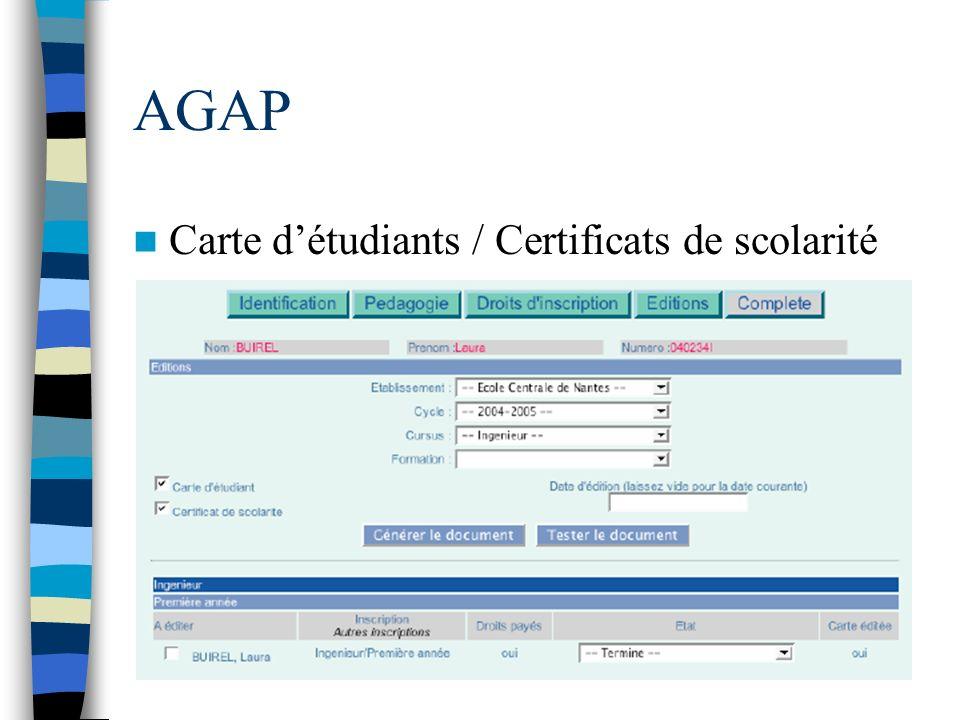 AGAP Carte détudiants / Certificats de scolarité