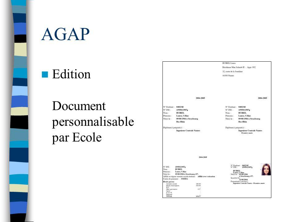 AGAP Edition Document personnalisable par Ecole