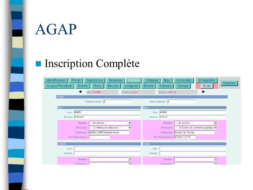 AGAP Inscription Complète