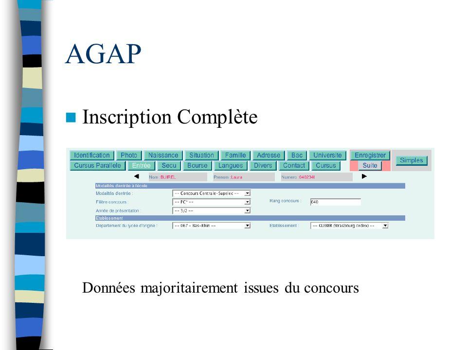 AGAP Inscription Complète Données majoritairement issues du concours