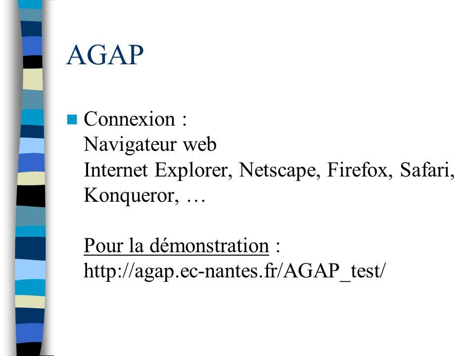 AGAP Connexion : Navigateur web Internet Explorer, Netscape, Firefox, Safari, Konqueror, … Pour la démonstration : http://agap.ec-nantes.fr/AGAP_test/