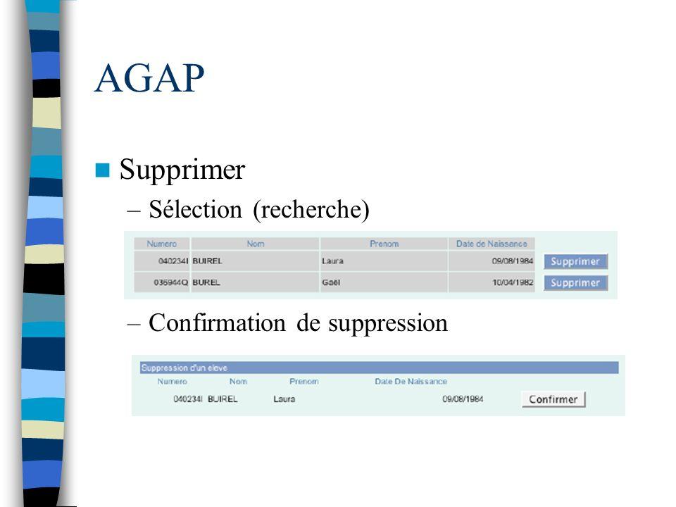 AGAP Supprimer –Sélection (recherche) –Confirmation de suppression