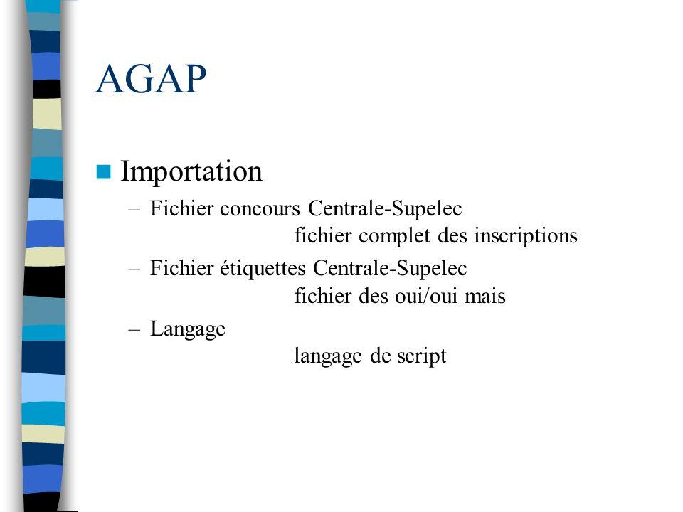 AGAP Importation –Fichier concours Centrale-Supelec fichier complet des inscriptions –Fichier étiquettes Centrale-Supelec fichier des oui/oui mais –La