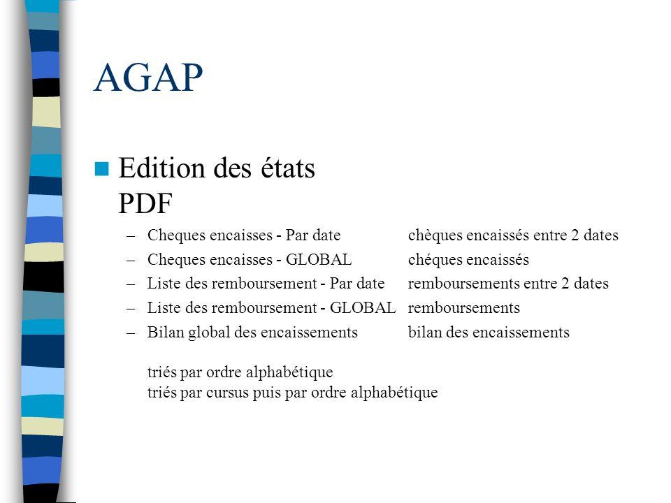 AGAP Edition des états PDF –Cheques encaisses - Par datechèques encaissés entre 2 dates –Cheques encaisses - GLOBALchéques encaissés –Liste des rembou