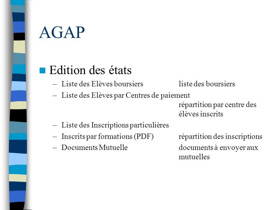 AGAP Edition des états –Liste des Elèves boursiersliste des boursiers –Liste des Elèves par Centres de paiement répartition par centre des élèves insc