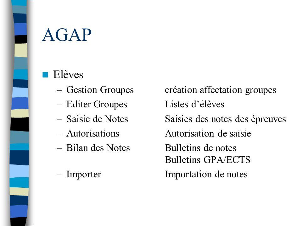 AGAP Elèves –Gestion Groupescréation affectation groupes –Editer GroupesListes délèves –Saisie de NotesSaisies des notes des épreuves –AutorisationsAu